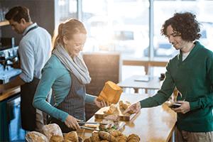 customer choosing sandwich