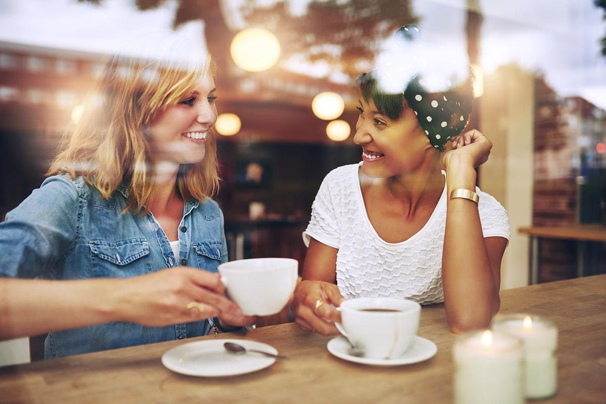 woman talking in a coffee shop